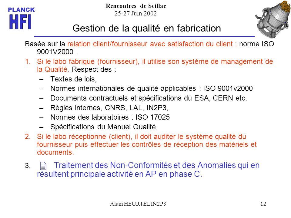 Rencontres de Seillac 25-27 Juin 2002 PLANCK Alain HEURTEL IN2P312 Gestion de la qualité en fabrication Basée sur la relation client/fournisseur avec