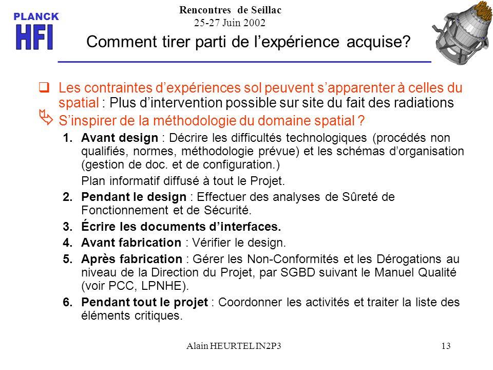 Rencontres de Seillac 25-27 Juin 2002 PLANCK Alain HEURTEL IN2P313 Comment tirer parti de lexpérience acquise? Les contraintes dexpériences sol peuven