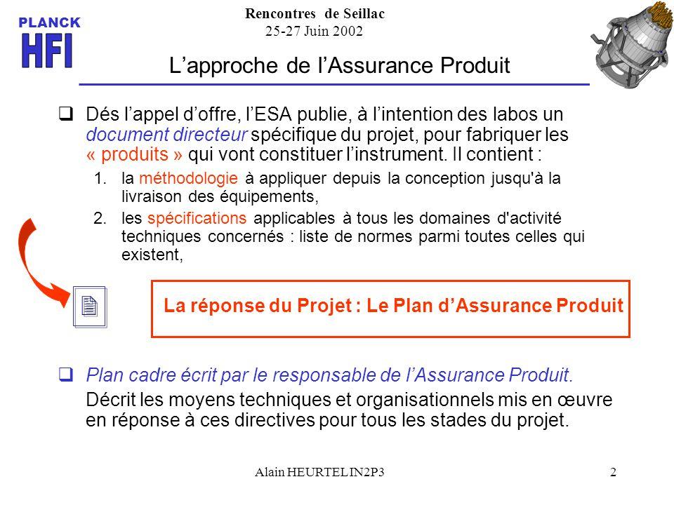 Rencontres de Seillac 25-27 Juin 2002 PLANCK Alain HEURTEL IN2P32 Lapproche de lAssurance Produit Dés lappel doffre, lESA publie, à lintention des lab