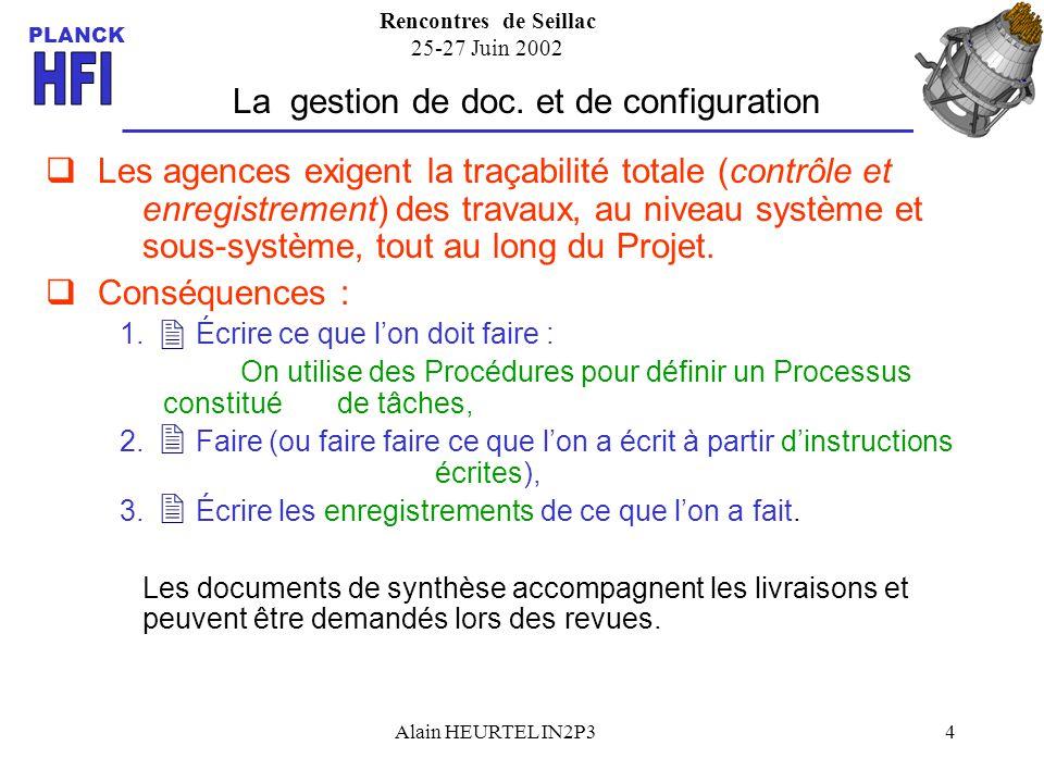 Rencontres de Seillac 25-27 Juin 2002 PLANCK Alain HEURTEL IN2P34 La gestion de doc. et de configuration Les agences exigent la traçabilité totale (co