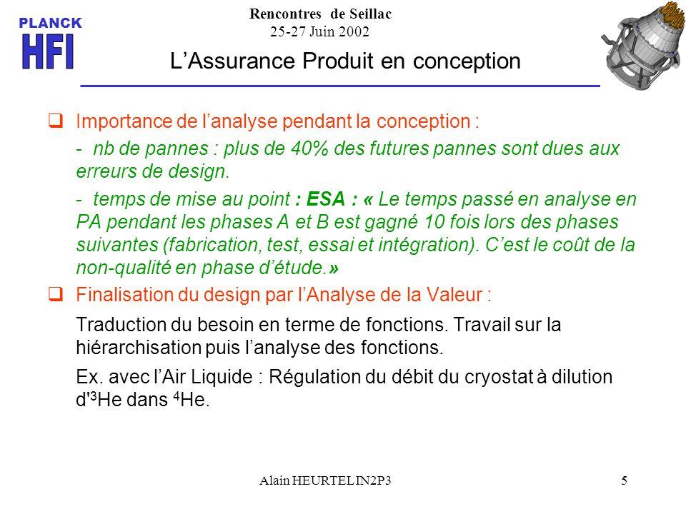 Rencontres de Seillac 25-27 Juin 2002 PLANCK Alain HEURTEL IN2P35 Importance de lanalyse pendant la conception : - nb de pannes : plus de 40% des futu