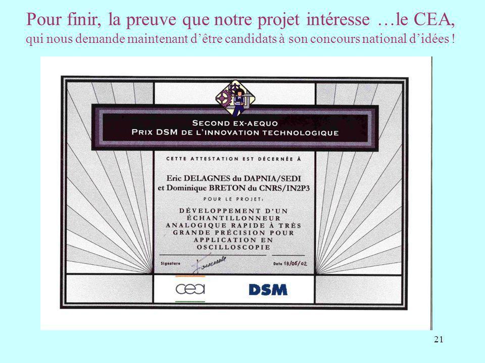 21 Pour finir, la preuve que notre projet intéresse …le CEA, qui nous demande maintenant dêtre candidats à son concours national didées !