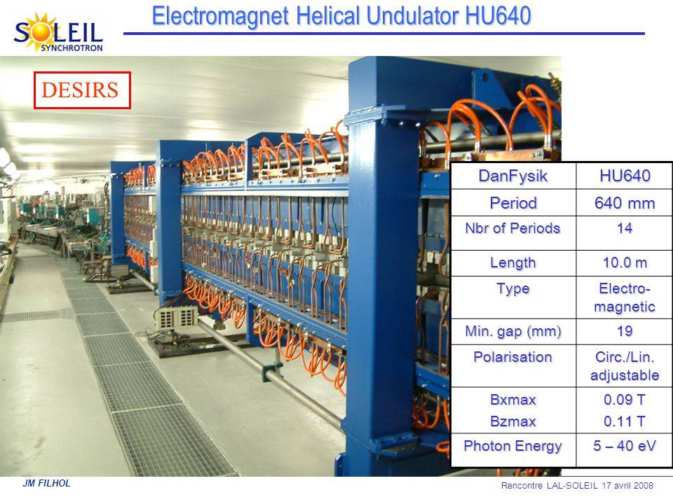 JM FILHOL Rencontre LAL-SOLEIL 17 avril 2008 Electromagnet Helical Undulator HU640 DanFysikHU640Period 640 mm Nbr of Periods 14 Length 10.0 m Type Ele