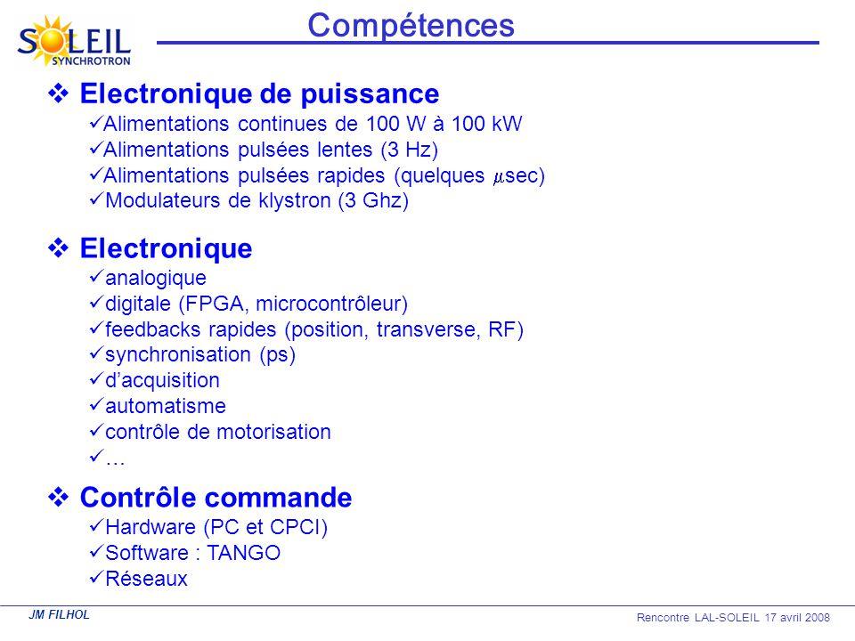 JM FILHOL Rencontre LAL-SOLEIL 17 avril 2008 Compétences Contrôle commande Hardware (PC et CPCI) Software : TANGO Réseaux Electronique de puissance Al