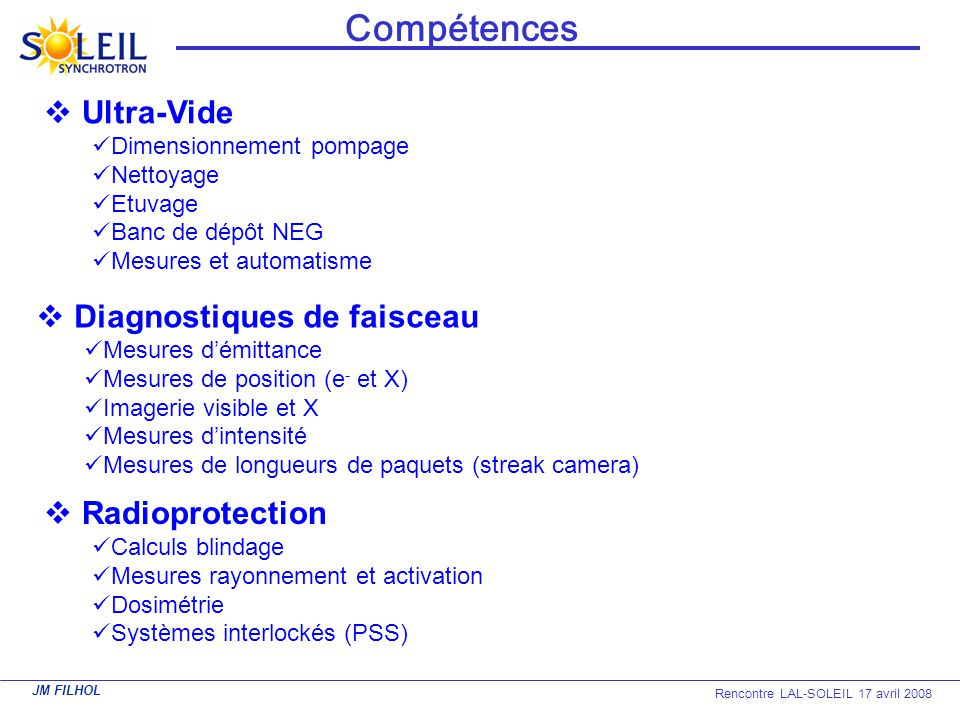JM FILHOL Rencontre LAL-SOLEIL 17 avril 2008 Ultra-Vide Dimensionnement pompage Nettoyage Etuvage Banc de dépôt NEG Mesures et automatisme Compétences