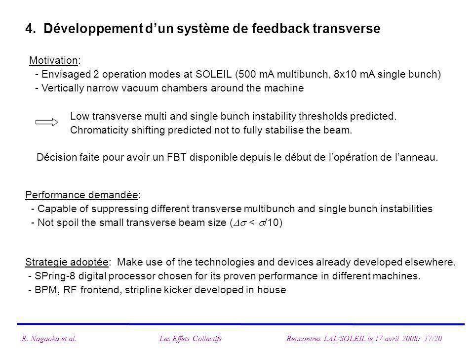 4. Développement dun système de feedback transverse Motivation: - Envisaged 2 operation modes at SOLEIL (500 mA multibunch, 8x10 mA single bunch) - Ve