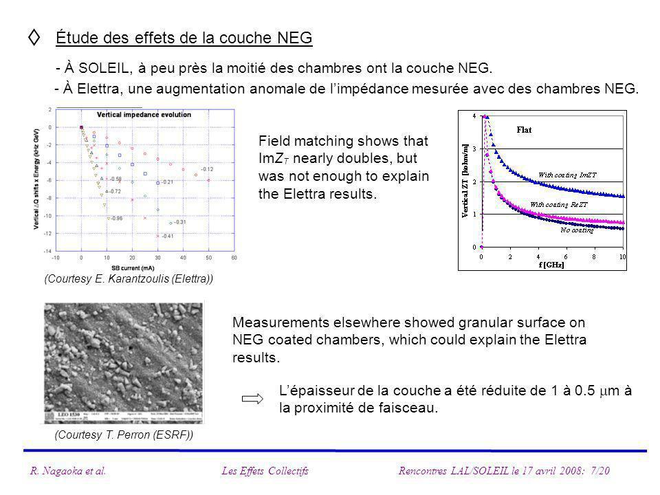 Étude des effets de la couche NEG - À SOLEIL, à peu près la moitié des chambres ont la couche NEG. - À Elettra, une augmentation anomale de limpédance