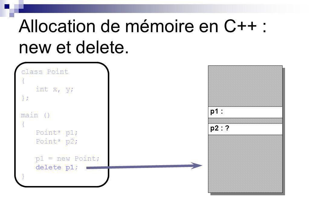 p1 : p2 : ? Allocation de mémoire en C++ : new et delete. class Point { int x, y; }; main () { Point* p1; Point* p2; p1 = new Point; delete p1; }