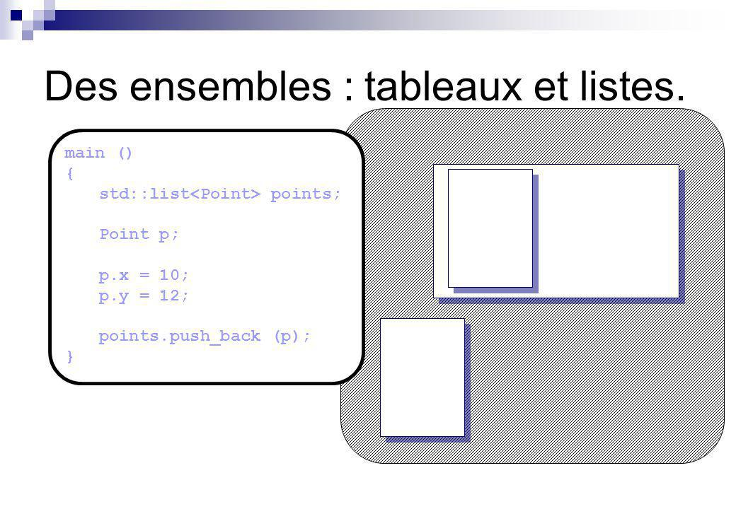Des ensembles : tableaux et listes. main () { std::list points; Point p; p.x = 10; p.y = 12; points.push_back (p); }