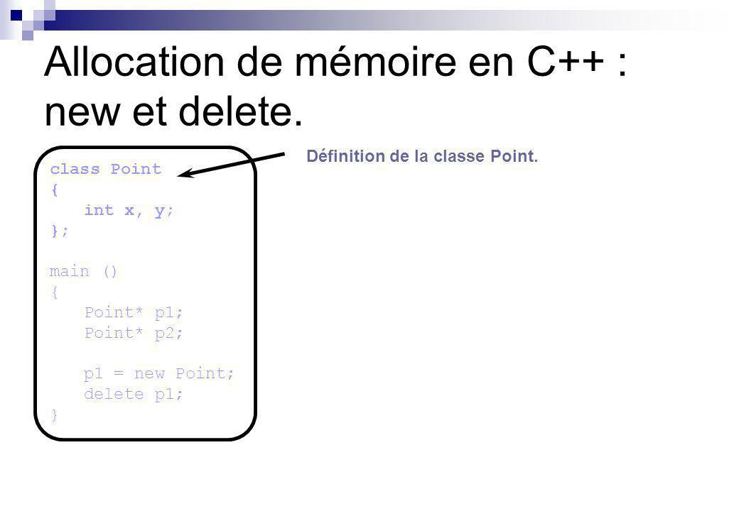 Allocation de mémoire en C++ : new et delete.Déclaration de deux pointeurs sur des objets Point.