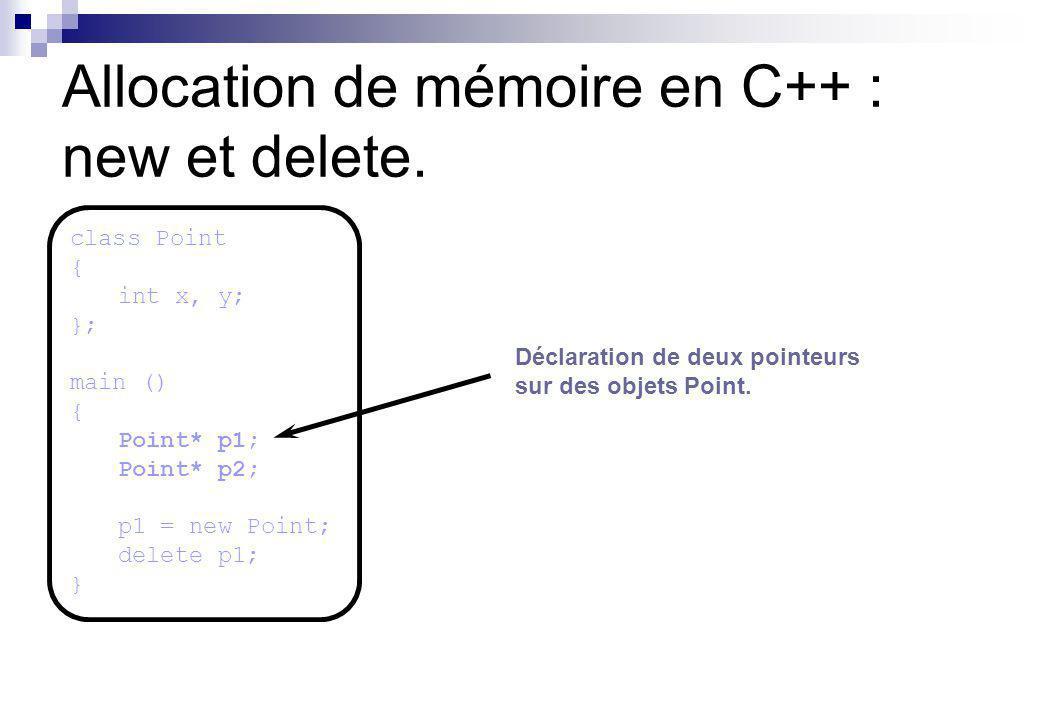 Allocation de mémoire en C++ : new et delete. Déclaration de deux pointeurs sur des objets Point. class Point { int x, y; }; main () { Point* p1; Poin