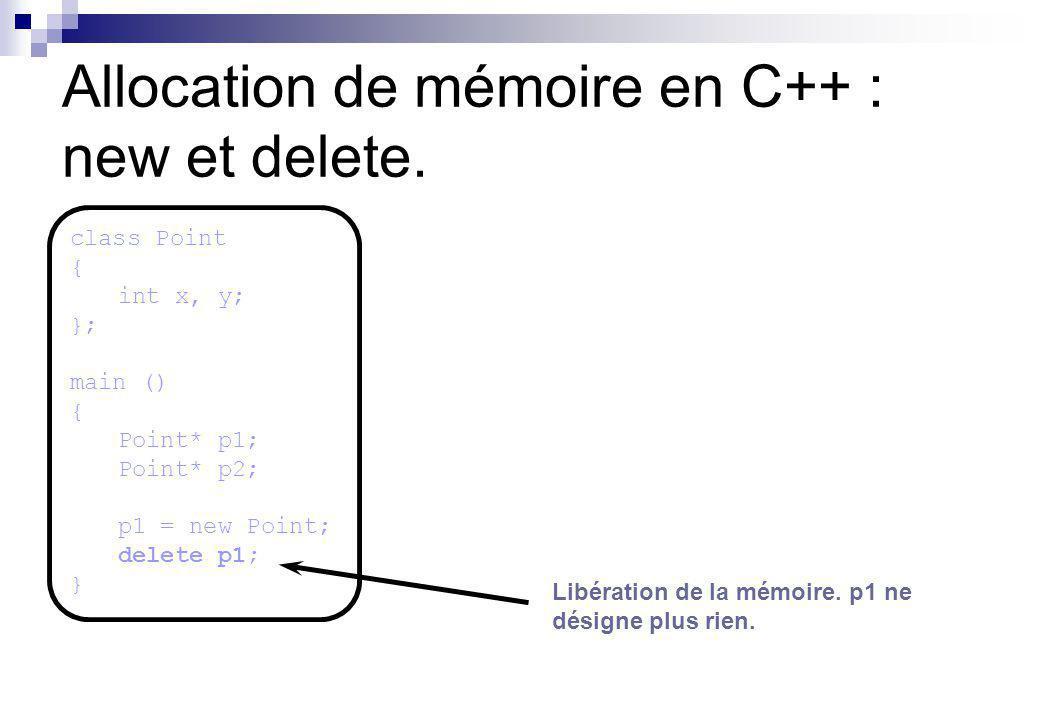 Allocation de mémoire en C++ : new et delete. Libération de la mémoire. p1 ne désigne plus rien. class Point { int x, y; }; main () { Point* p1; Point