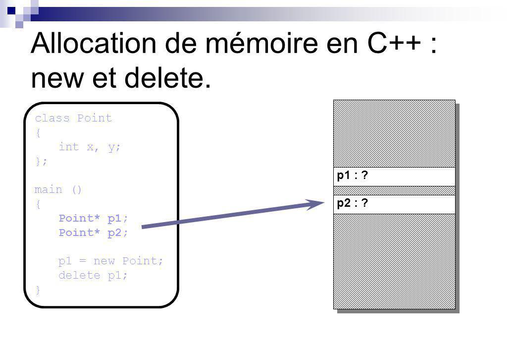 p1 : p2 : .Allocation de mémoire en C++ : new et delete.