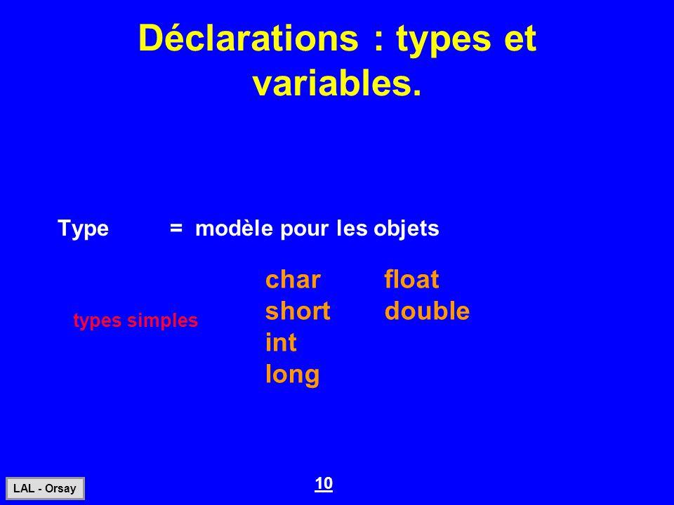 10 LAL - Orsay Déclarations : types et variables. Type= modèle pour les objets char short int long float double types simples