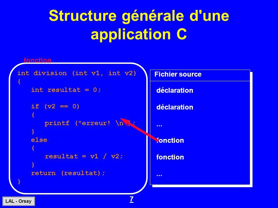 7 LAL - Orsay Structure générale d'une application C int division (int v1, int v2) { int resultat = 0; if (v2 == 0) { printf (