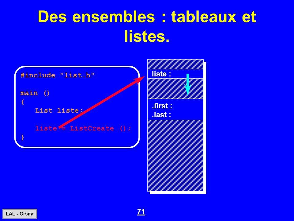 71 LAL - Orsay Des ensembles : tableaux et listes. #include