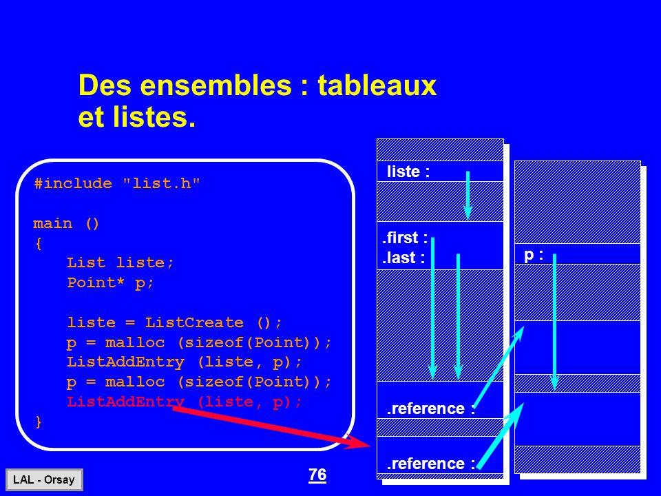 76 LAL - Orsay Des ensembles : tableaux et listes. #include