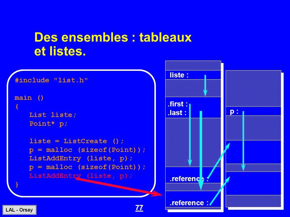77 LAL - Orsay Des ensembles : tableaux et listes. #include
