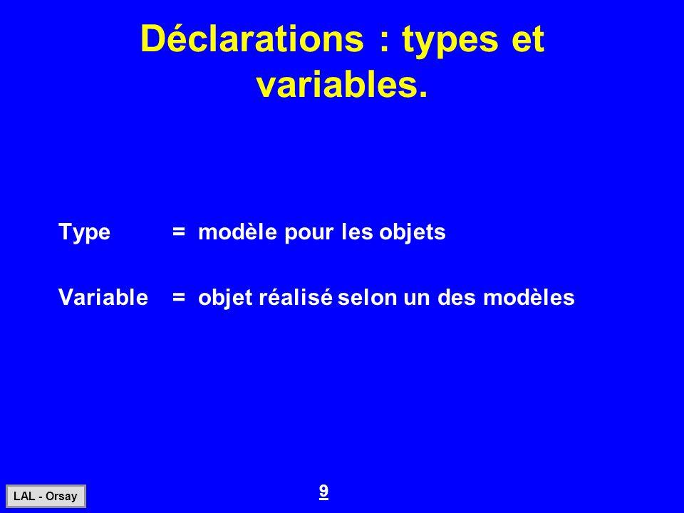 9 LAL - Orsay Déclarations : types et variables. Type= modèle pour les objets Variable= objet réalisé selon un des modèles