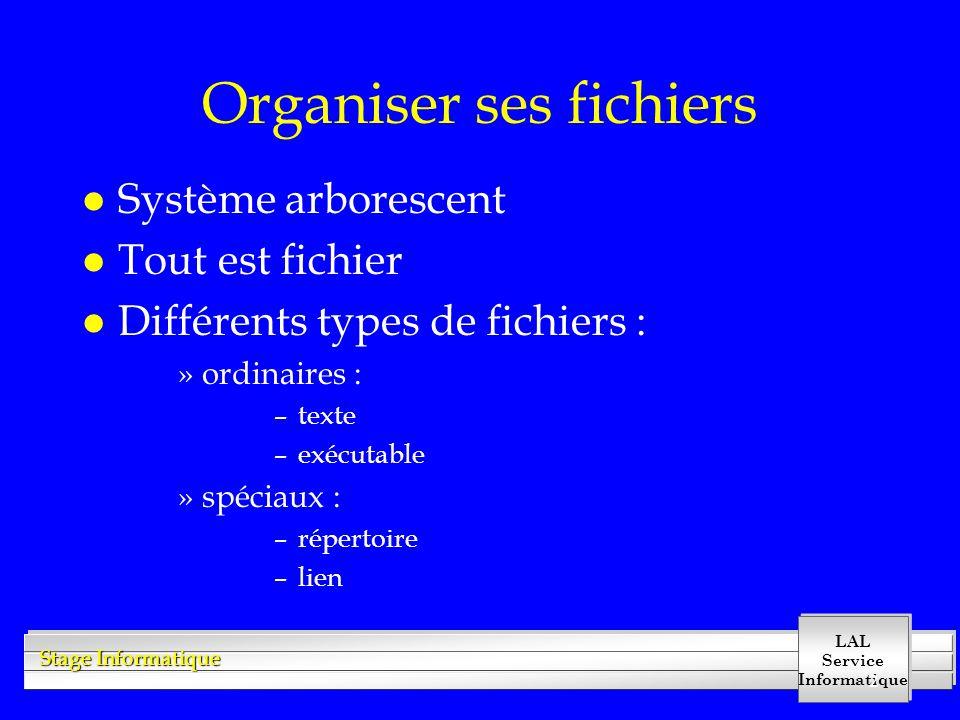 LAL Service Informatique Stage Informatique 2 Organiser ses fichiers l Système arborescent l Tout est fichier l Différents types de fichiers : »ordinaires : –texte –exécutable »spéciaux : –répertoire –lien