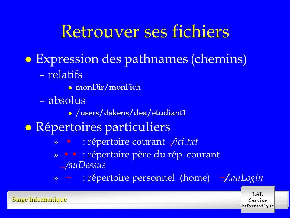 LAL Service Informatique Stage Informatique 3 Retrouver ses fichiers l Expression des pathnames (chemins) –relatifs l monDir/monFich –absolus l /users/dskens/dea/etudiant1 l Répertoires particuliers » : répertoire courant.