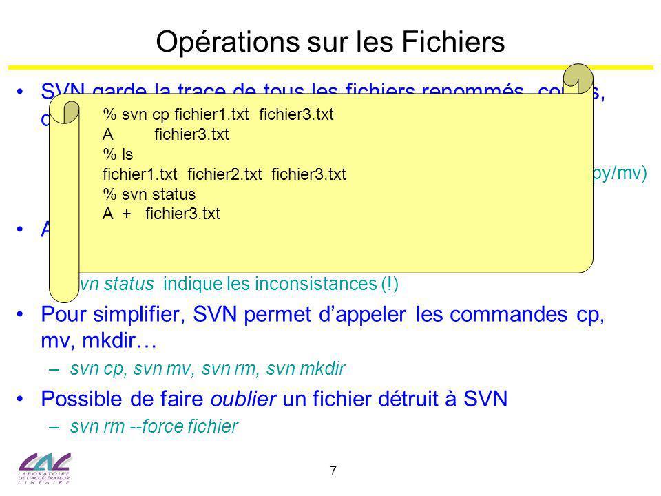 8 Fonctionnalités Avancées diff : visualiser les différences entre 2 versions dun (groupe de) fichier –Avec lespace de travail : svn diff [-r révision] fichier/répertoire –Entre 2 révisions du repository : svn diff [-r r1:r2] fichier/répertoire Plus facile avec un interface Web (WebSVN, Trac…) WebSVN au LAL : http://svn.lal.in2p3.fr/WebSVN merge : revenir à une révision antérieure du repository –svn merge –r HEAD:révision fichier/répertoire –Ne modifie pas le repository mais seulement la copie locale (faire un commit pour valider le retour à la révision antérieure) –update permet de restaurer une version antérieure dans lespace de travail mais cause un conflit lors du commit commit exige que lespace de travail soit à jour par rapport à la dernière révison –Dautre formes plus complexes pour appliquer une modification se trouvant ailleurs dans le repository R WA