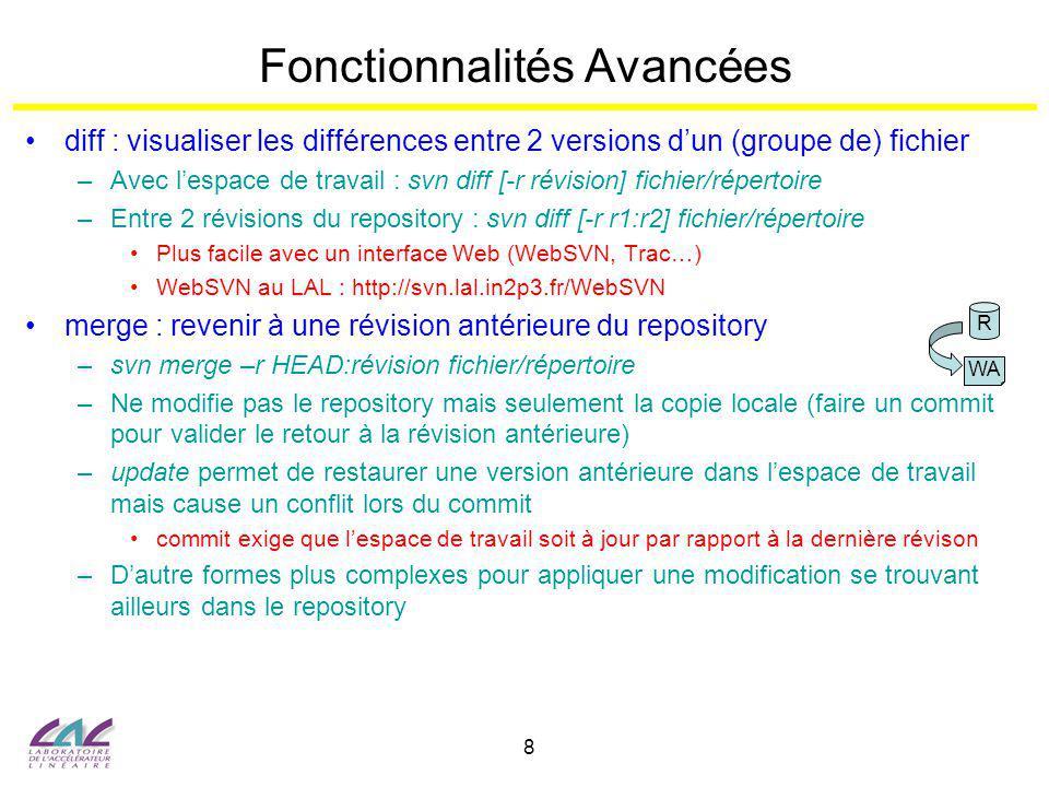 8 Fonctionnalités Avancées diff : visualiser les différences entre 2 versions dun (groupe de) fichier –Avec lespace de travail : svn diff [-r révision