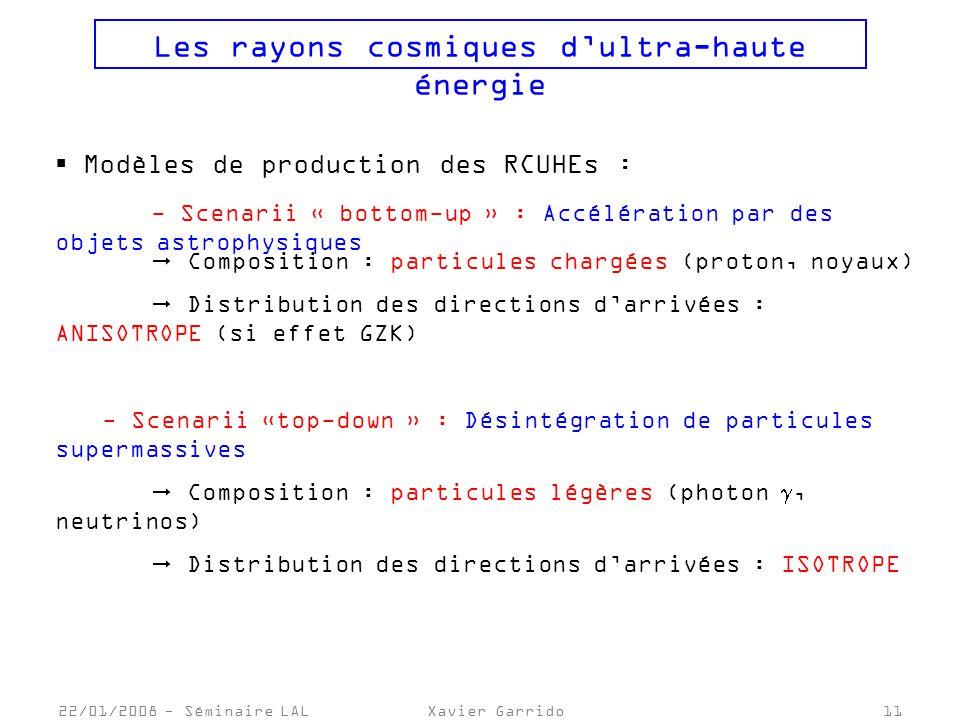 22/01/2008 - Séminaire LALXavier Garrido11 Les rayons cosmiques dultra-haute énergie Modèles de production des RCUHEs : - Scenarii « bottom-up » : Accélération par des objets astrophysiques Composition : particules chargées (proton, noyaux) Distribution des directions darrivées : ANISOTROPE (si effet GZK) - Scenarii «top-down » : Désintégration de particules supermassives Composition : particules légères (photon, neutrinos) Distribution des directions darrivées : ISOTROPE