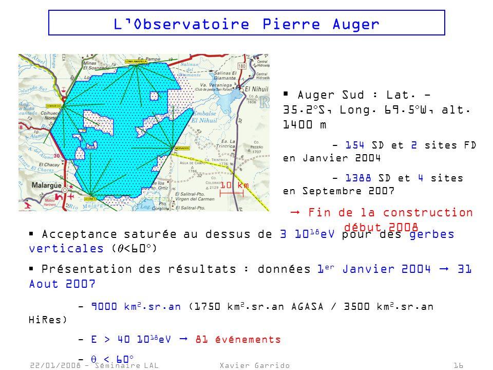 22/01/2008 - Séminaire LALXavier Garrido16 LObservatoire Pierre Auger 10 km Auger Sud : Lat.