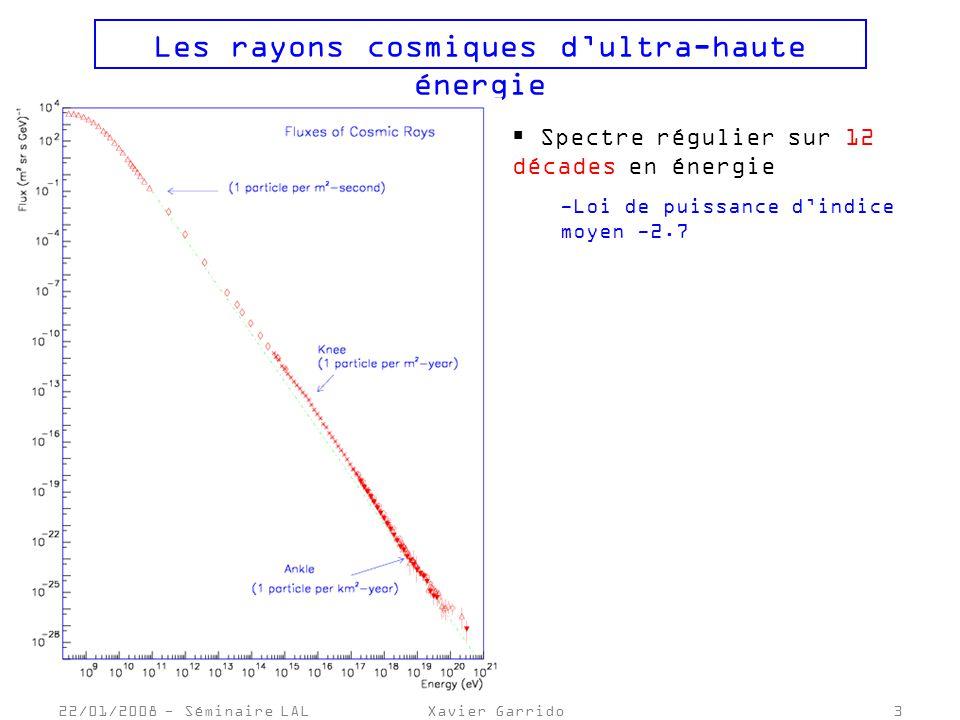 22/01/2008 - Séminaire LALXavier Garrido3 Les rayons cosmiques dultra-haute énergie Spectre régulier sur 12 décades en énergie -Loi de puissance dindice moyen -2.7