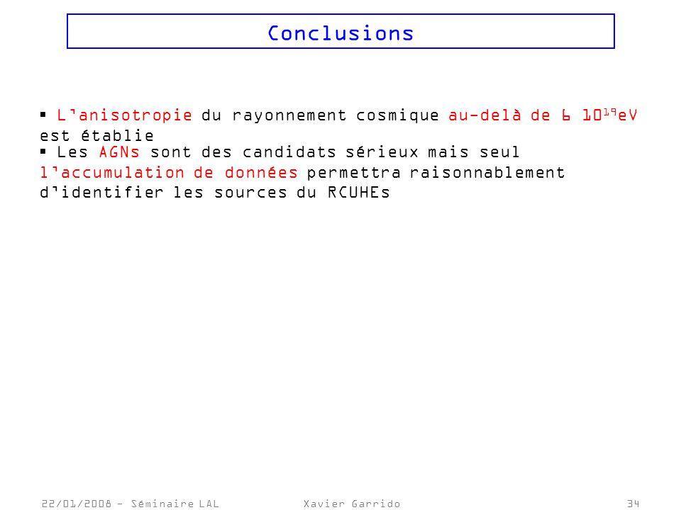 22/01/2008 - Séminaire LALXavier Garrido34 Conclusions Lanisotropie du rayonnement cosmique au-delà de 6 10 19 eV est établie Les AGNs sont des candidats sérieux mais seul laccumulation de données permettra raisonnablement didentifier les sources du RCUHEs