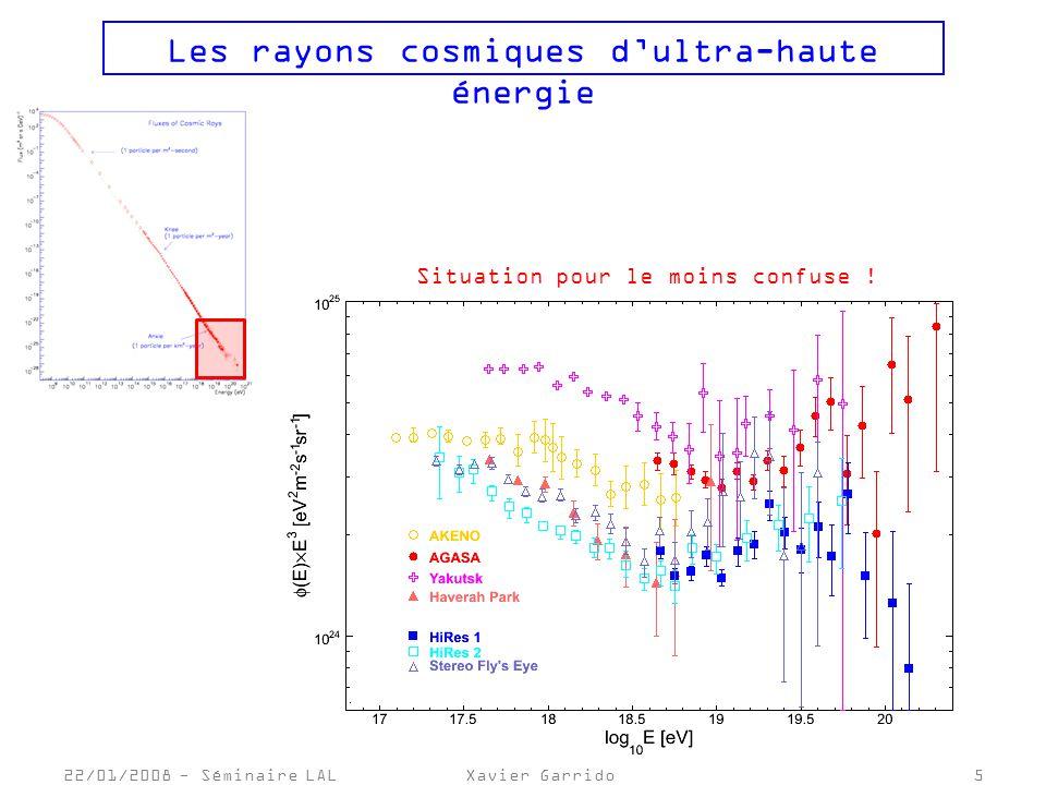 22/01/2008 - Séminaire LALXavier Garrido5 Les rayons cosmiques dultra-haute énergie Situation pour le moins confuse !