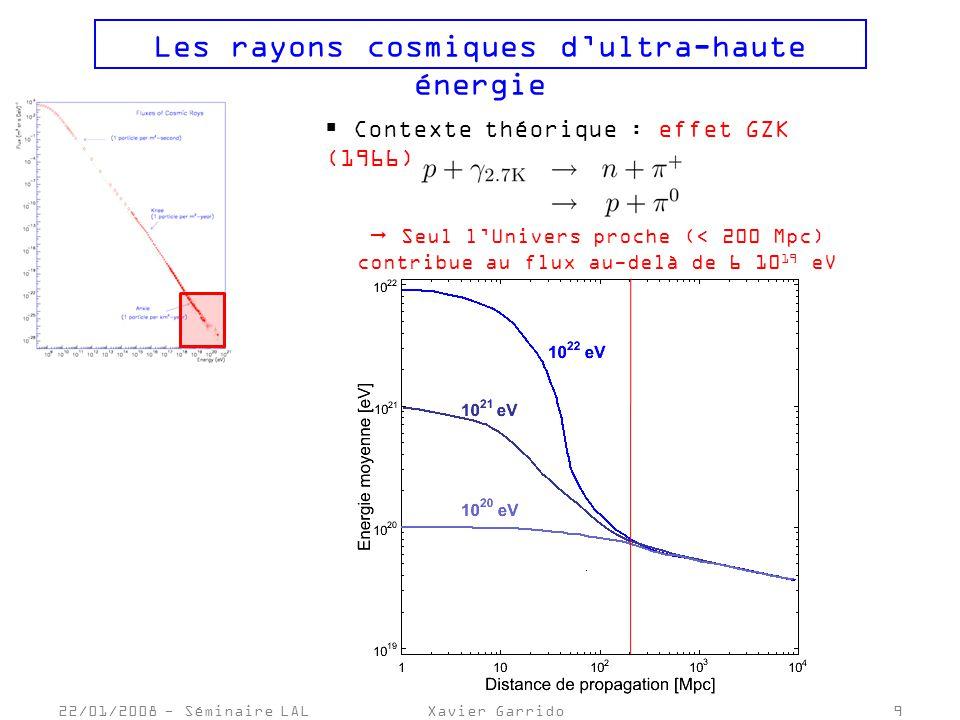 22/01/2008 - Séminaire LALXavier Garrido10 Les rayons cosmiques dultra-haute énergie Modèles de production des RCUHEs : - Scenarii « bottom-up » : Accélération par des objets astrophysiques candidats sérieux : noyaux actifs de galaxies (AGN), sursauts gamma … - Scenarii «top-down » : Désintégration de particules supermassives particules de masse >> 10 20 eV défauts topologiques, reliques du big-bang …