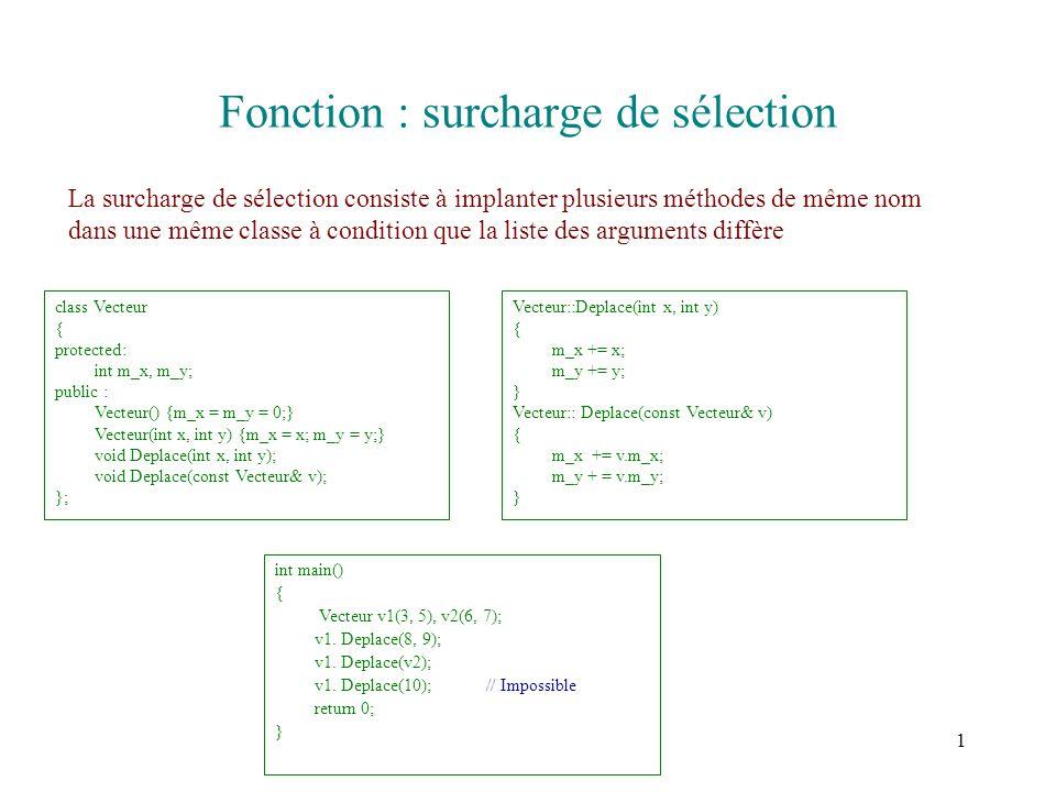 1 Fonction : surcharge de sélection La surcharge de sélection consiste à implanter plusieurs méthodes de même nom dans une même classe à condition que la liste des arguments diffère class Vecteur { protected: int m_x, m_y; public : Vecteur() {m_x = m_y = 0;} Vecteur(int x, int y) {m_x = x; m_y = y;} void Deplace(int x, int y); void Deplace(const Vecteur& v); }; int main() { Vecteur v1(3, 5), v2(6, 7); v1.