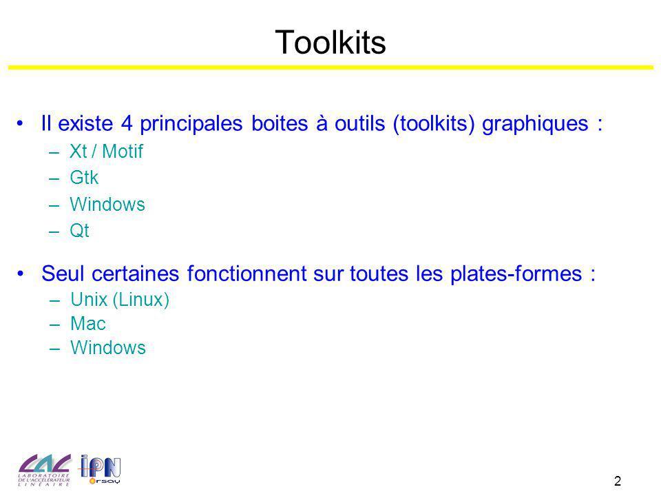 2 Toolkits Il existe 4 principales boites à outils (toolkits) graphiques : –Xt / Motif –Gtk –Windows –Qt Seul certaines fonctionnent sur toutes les pl