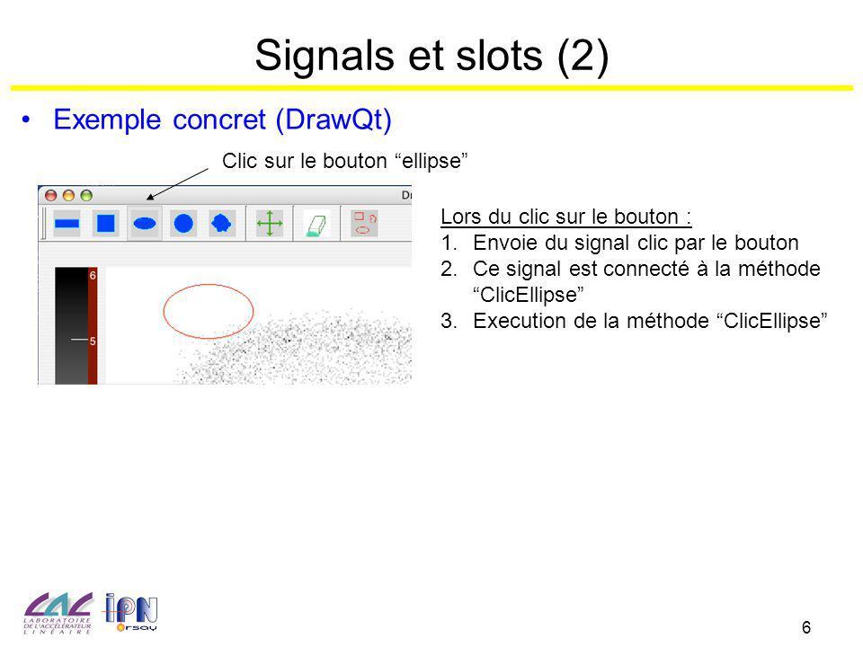 6 Signals et slots (2) Exemple concret (DrawQt) Clic sur le bouton ellipse Lors du clic sur le bouton : 1.Envoie du signal clic par le bouton 2.Ce signal est connecté à la méthode ClicEllipse 3.Execution de la méthode ClicEllipse