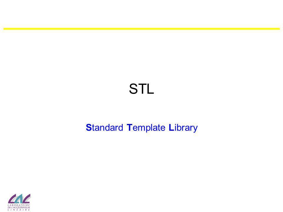 2 Introduction STL est une bibliothèque standard du C++ –fait partie du langage –tout le code est contenu dans les fichiers header, pas de librairies à linker –entièrement définie dans lespace de nommage std –repose sur sur le concept de généricité (template) permettant de paramétrer le type délément utilisé –particulièrement efficace