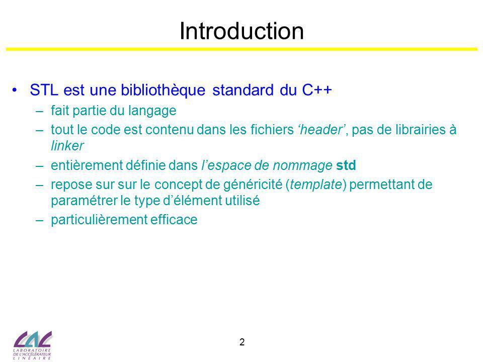 2 Introduction STL est une bibliothèque standard du C++ –fait partie du langage –tout le code est contenu dans les fichiers header, pas de librairies
