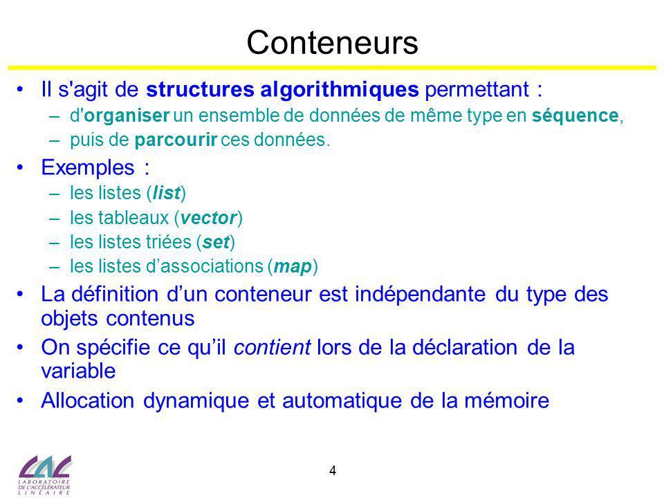 5 Conteneurs … Ordonnés ( position indépendante de la valeur ) –Vecteur : tableau à 1 dimension –List : liste doublement chaînée Triés ( position dépendante de la valeur ) –Set/Multiset : ensemble –Map/Multimap : tableau associatif