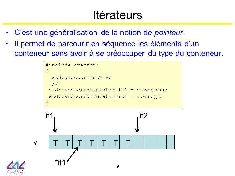 10 Itérateurs #include int main() { std::list liste; for (int i = 0; i < 10; i++) { liste.push_back (i); } std::list ::iterator it; for (it = liste.begin (); it != liste.end (); ++it) { int i = *it; std::cout << i = << i << std::endl; } return (0); } Déclaration 1er élément Pointe après le dernier élément