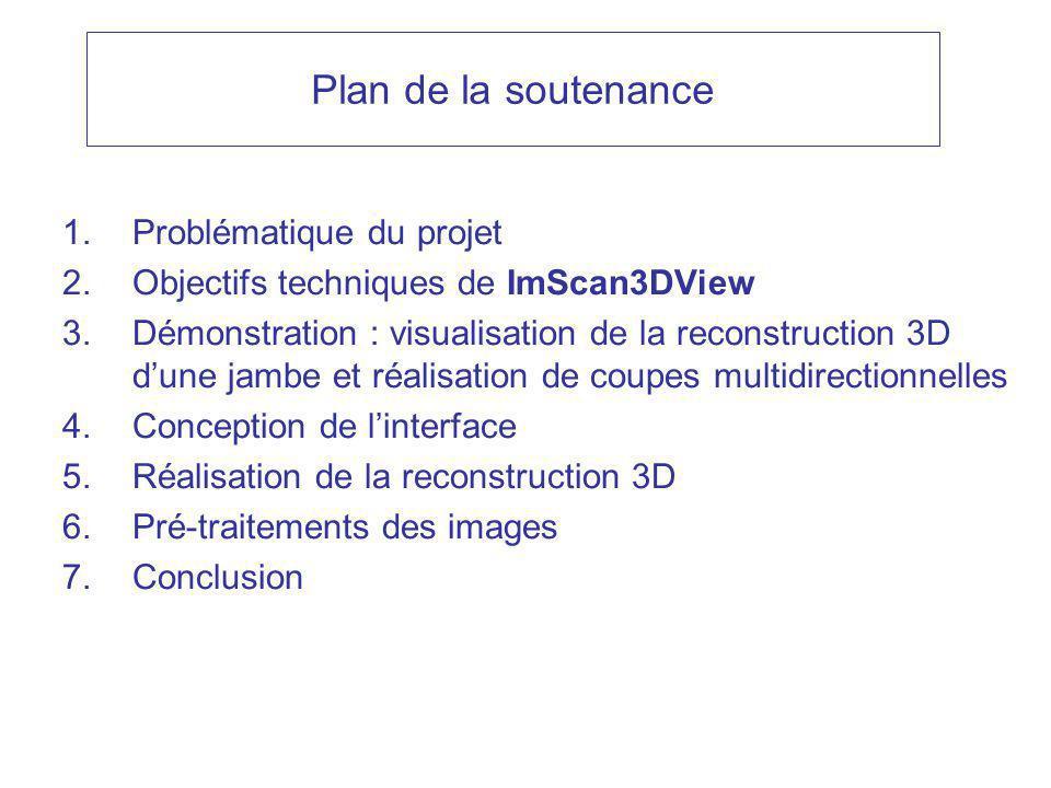 Plan de la soutenance 1.Problématique du projet 2.Objectifs techniques de ImScan3DView 3.Démonstration : visualisation de la reconstruction 3D dune jambe et réalisation de coupes multidirectionnelles 4.Conception de linterface 5.Réalisation de la reconstruction 3D 6.Pré-traitements des images 7.Conclusion