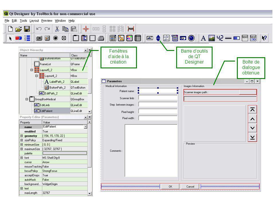 Boîte de dialogue obtenue Fenêtres daide à la création Barre doutils de QT Designer