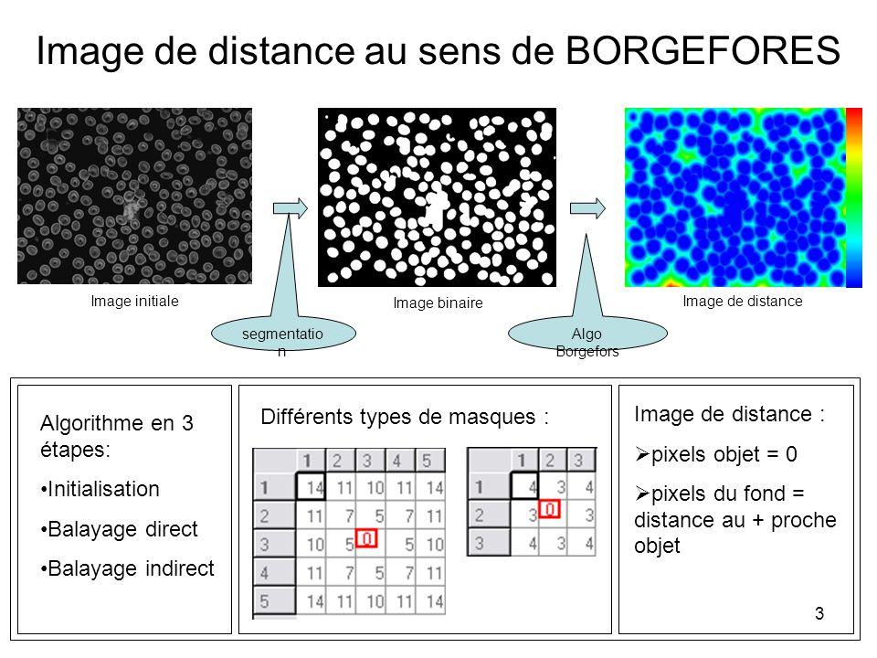 3 Image de distance au sens de BORGEFORES Image de distance Image de distance : pixels objet = 0 pixels du fond = distance au + proche objet Image bin