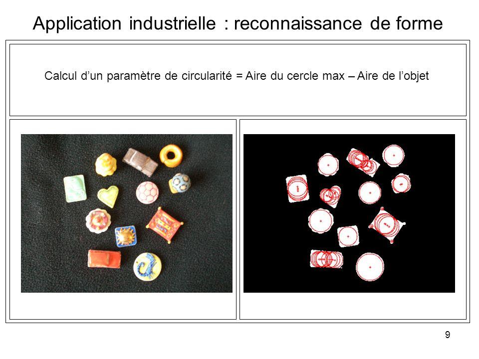 9 Application industrielle : reconnaissance de forme Calcul dun paramètre de circularité = Aire du cercle max – Aire de lobjet