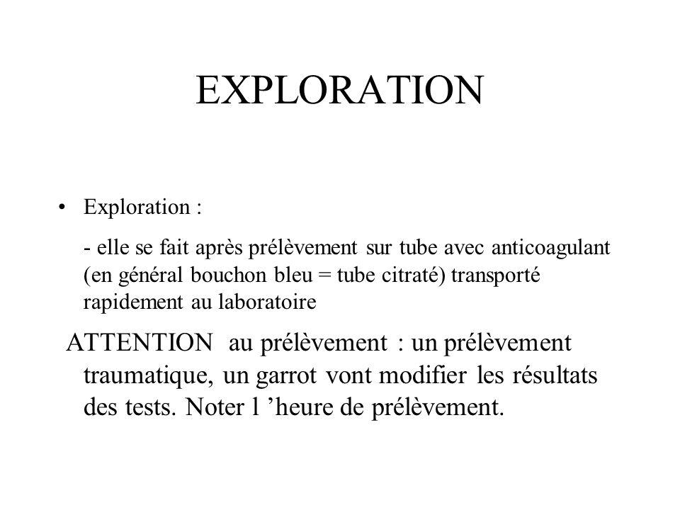 EXPLORATION Exploration : - elle se fait après prélèvement sur tube avec anticoagulant (en général bouchon bleu = tube citraté) transporté rapidement