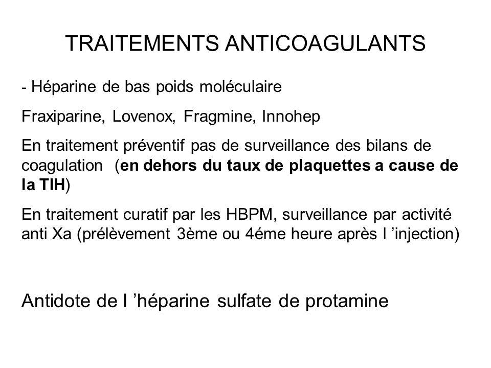 TRAITEMENTS ANTICOAGULANTS - Héparine de bas poids moléculaire Fraxiparine, Lovenox, Fragmine, Innohep En traitement préventif pas de surveillance des