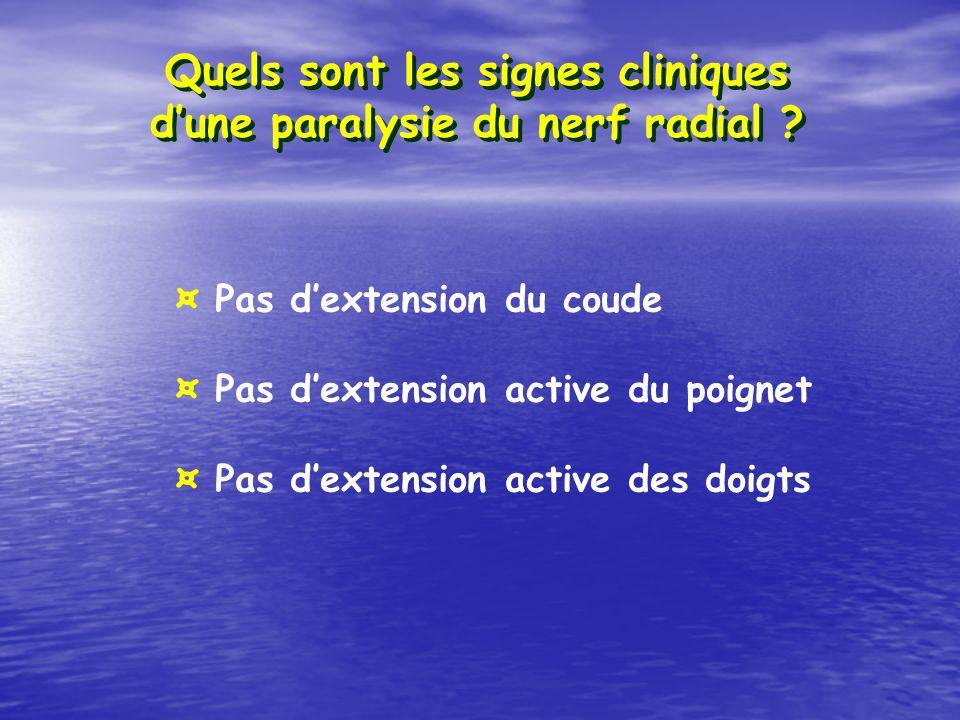 Quels sont les signes cliniques dune paralysie du nerf radial ? ¤ Pas dextension du coude ¤ Pas dextension active du poignet ¤ Pas dextension active d