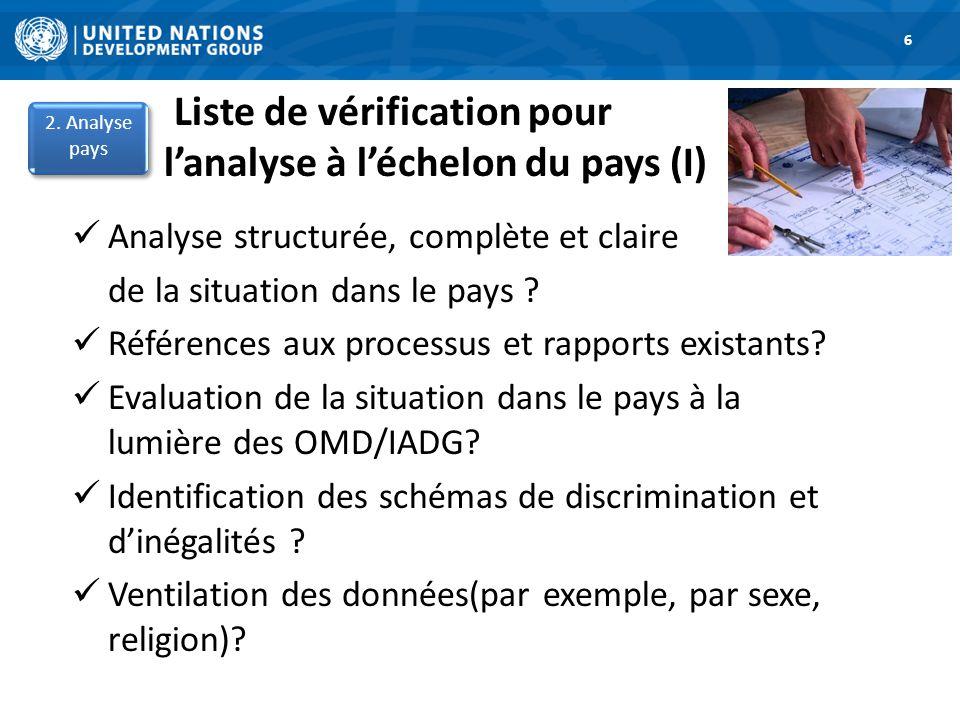 Liste de vérification pour lanalyse à léchelon du pays (I) 6 Analyse structurée, complète et claire de la situation dans le pays .