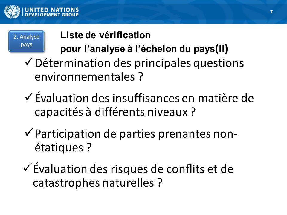 1. Road Map 7 Liste de vérification pour lanalyse à léchelon du pays (II) Détermination des principales questions environnementales ? Évaluation des i