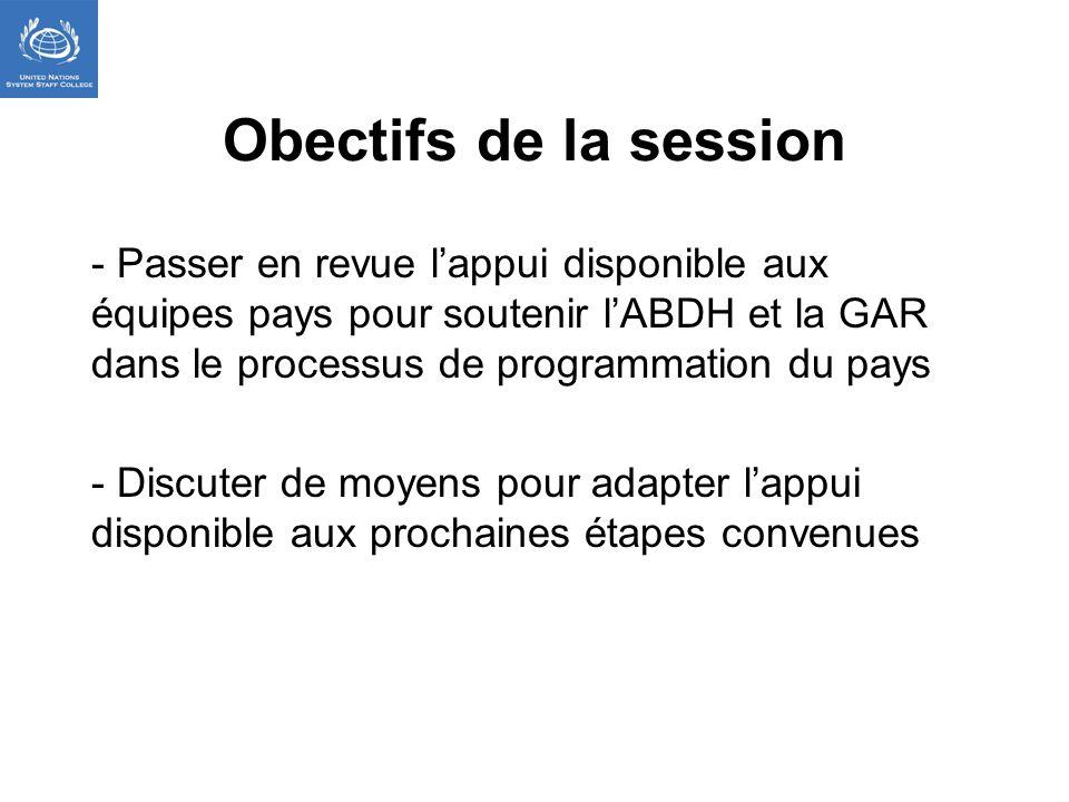 Obectifs de la session - Passer en revue lappui disponible aux équipes pays pour soutenir lABDH et la GAR dans le processus de programmation du pays - Discuter de moyens pour adapter lappui disponible aux prochaines étapes convenues